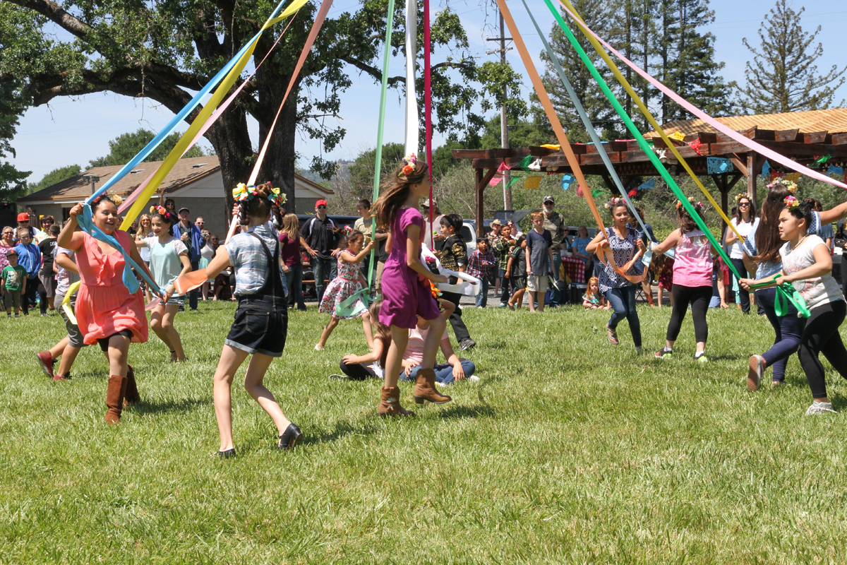 Maypole dance at May Day Festival, Geyserville
